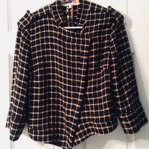 Rachel Roy Plaid Jacket Asymmetrical  SZ 10